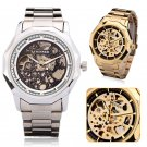 Luxury WINNER Men Skeleton Gold Stainless Steel Automatic Mechanical Sport Watch