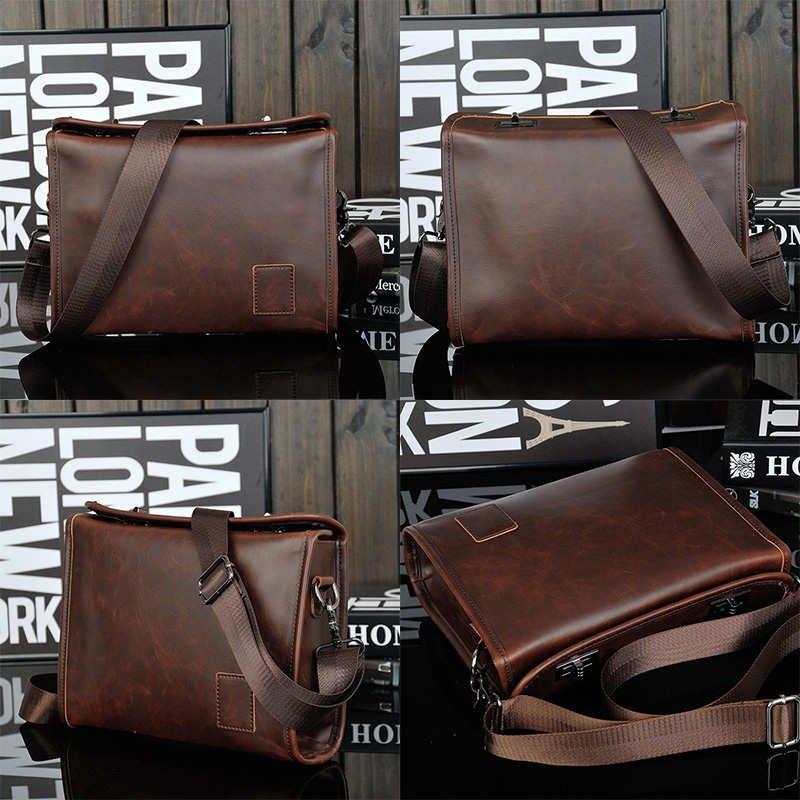 New Men's PU Leather Shoulder Bag Messenger Bag Crossbody Bag Business Bag Purse