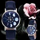 Fashion Women's Date Lunar Eclipse Stainless Steel Leather Analog Quartz Watch