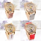 Fashion Women WristWatch Quartz Watch Leather Band Round Dial Eiffel Tower Watch