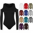 New Womens Cut Off Shoulder Stretch Long Sleeve Leotard Bodysuit Ladies Top S-XL