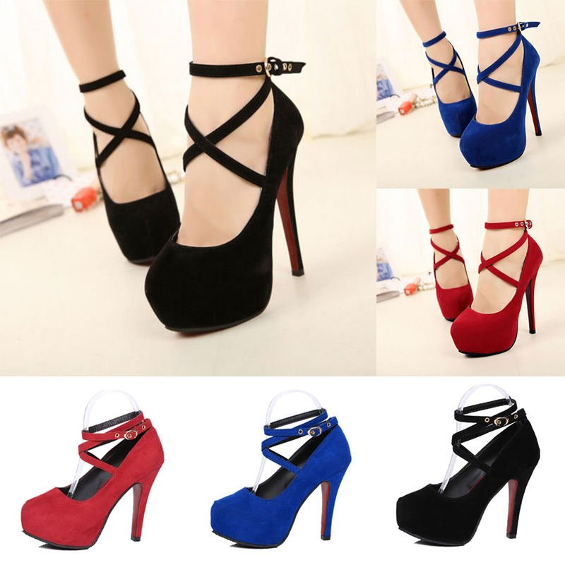 Fashion Women's Shoes Ankle Strap High Heels Shoes Wedding Platform Pumps Shoes