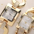 Women Square Crystal Dial Stainless Steel Bracelet Chain Quartz Wrist Watch