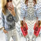 New Women Pullover Casual Blouse T-shirt Tops Sports Print Feather Long Sleeve