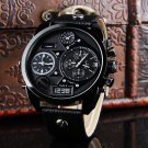 New Fashion Cool Men's Date Military Leather Strap Analog Quartz Wrist Watches