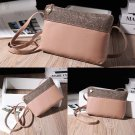 New Women Ladies Small Sequin Handbag Shoulder Bag PU Leather Messenger Bag Pink