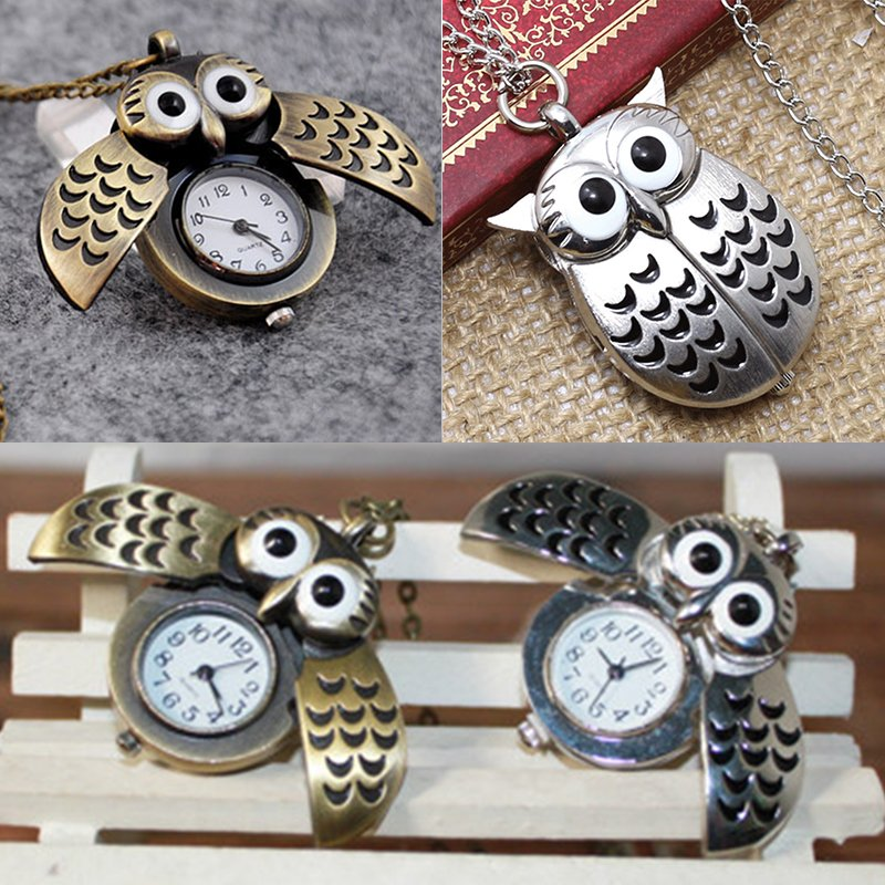 Vintage Bronze Retro Slide Owl Pendant Long Necklace Analog Pocket Watch Gift