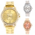 Geneva Women's Bling Crystal Rhinestone Dial Stainless Steel Quartz Wrist Watch