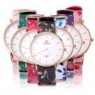 New Fashion Women Flower Floral Leather Band Analog Quartz Dress Wrist Watch