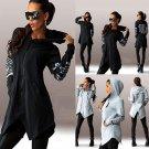 2016 Women Zipper Pocket Blouse Hoodie Lady Sweatshirts Pullover Top Asymmetric