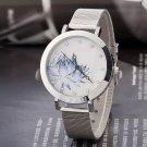 Fashion Women Lady Stainless Steel Blue Lotus Rhinestone Mesh Quartz Wrist Watch