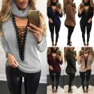 Fashion Women Long Sleeve V Neck Lace-up Ribbed Knit Sweater Pullover Tops Shirt