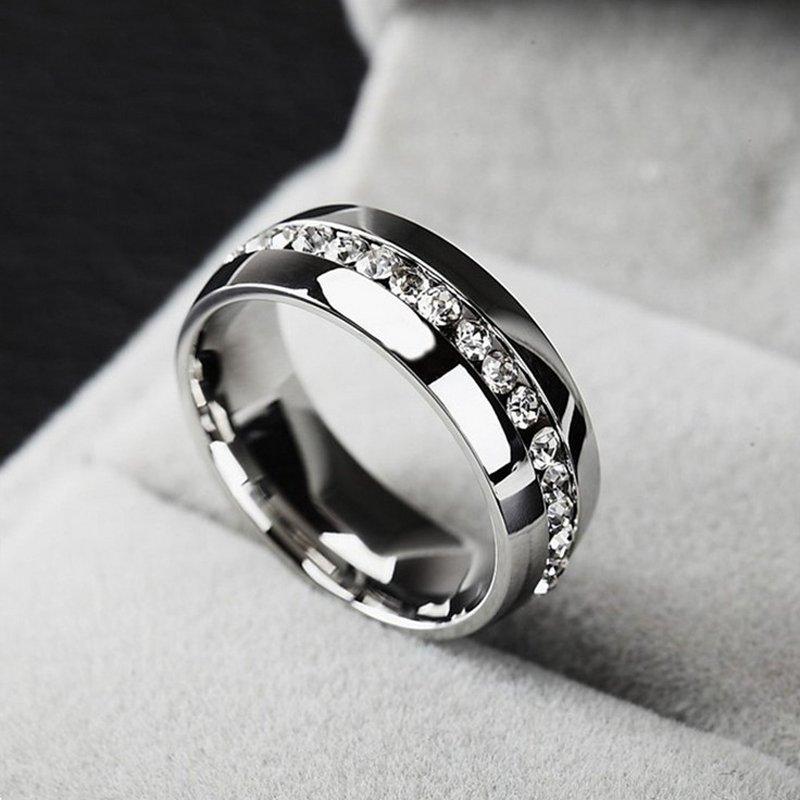 Size 7-11 Titanium Ring Crystal Men Women Wedding Stainless Steel Engagement