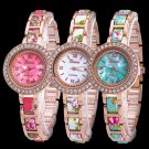 Charming Women Geneva Floral Strap Crystal Stainess Steel Quartz Wrist Watch
