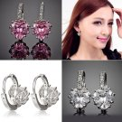 Charismatic White Gold Plated CZ Crystal Heart Leverback Earrings For Ladies NEW