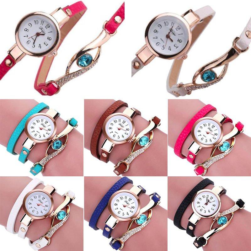 Fashion Women's Blue Eye Crystal Stainless Steel Leather Quartz Wrist Watches