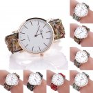 Women Geneva Stone Leather Band Stainless Steel Dress Quartz Wrist Watch