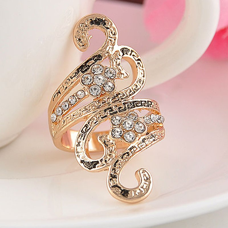 NEW Women's Gold Plated Charm Crystal Rinestone Jewelry Ring Engagement Wedding