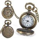 Hollow Bronze Fashion DAD Father's Day Quartz Pocket Watch Mens Gifts Xmas
