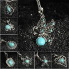 Women Turquoise Jewelry Pendant Crystal Choker Statement Chain Bib Necklace