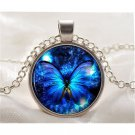 Vintage new Butterfly blue Cabochon Silver plated Glass Chain Pendant Necklace.