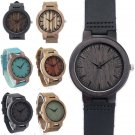 Bamboo Wooden Men's Watch Analog Quartz Wrist watches with Leather Band Gift