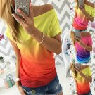 Summer Women Off Shoulder Short Sleeve Printed T Shirt Casual Tops Loose Blouse