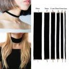 Black Velvet Choker Necklace Goth Gothic Handmade Retro Burlesque Jewelry 90's