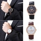 New Men Fashion Stainless Steel Leather Band Analog Quartz Luxury Wrist Watches