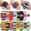New Men Sport LED LCD Digital Watch Binary Brick Block wrist Watch