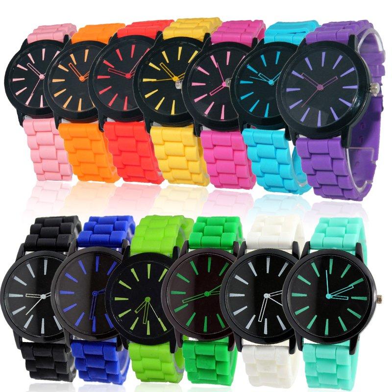 Unisex Men Women Silicone Rubber Jelly Gel Quartz Analog Sports Wrist Watch