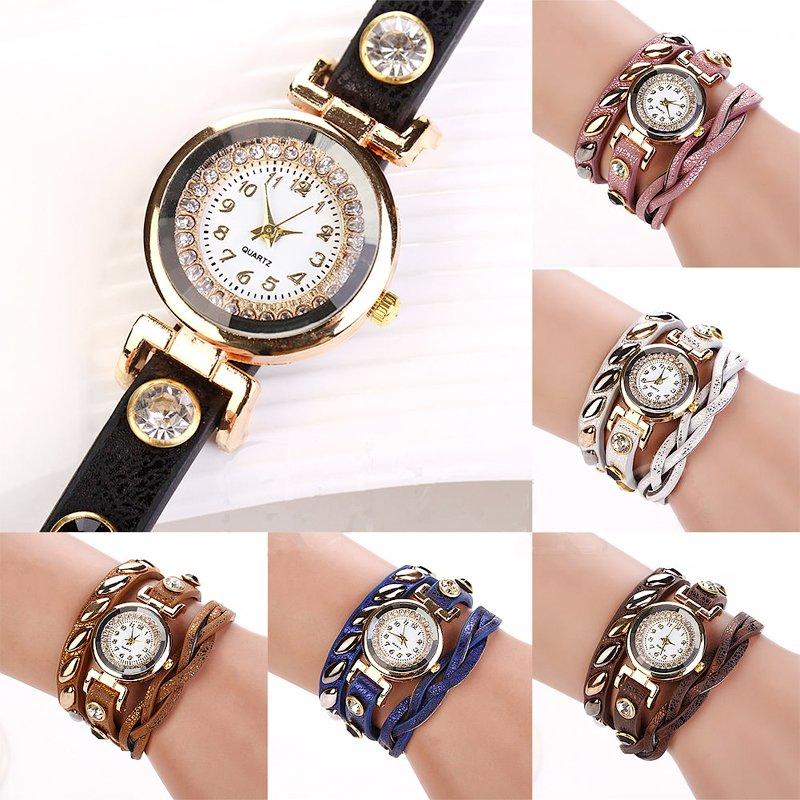 Women's Dial Rivet Faux Leather Wave Bracelet Quartz Wrap Wrist Watch