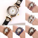 Women's Dial Rivet Faux Leather Wave Bracelet Quartz Wrap Wrist Watch