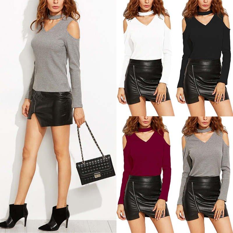 Fashion Women Ladies V Neck Choker Pullover Tops Cold Shoulder Tee Shirt Blouse