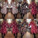 Lady Women Long Sleeve Xmas Santa Gift Snowman Christmas Print Mini Dress Top