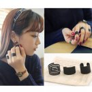 3pcs Black Stack Plain Above Knuckle Ring Band Midi Rings Set For Women