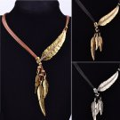 Women Bohemian Style Bronze Rope Chain Feather Pattern Pendant Choker Necklace