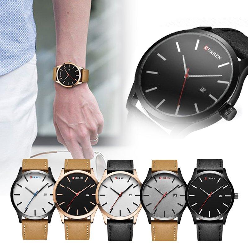 Men Sports Watch Leather Quartz Analog Casual Military Wrist Watch CURREN