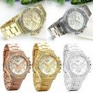 NEW Women Ladies Stainless Steel Rhinestone Crystal Dial Gold Quartz Wrist Watch
