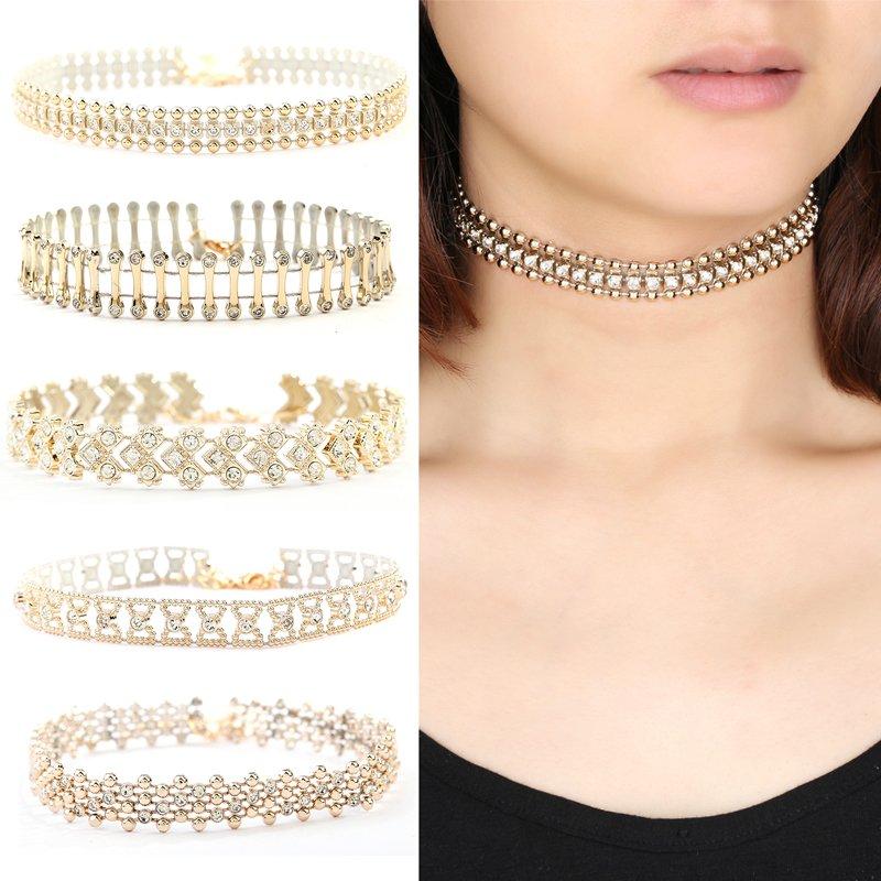 NEW Elegant Gold Choker Collar Beads Rhinestone Crystal Pendant Chain Necklace