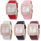 Women's Leather Strap Square Crystal Dial Wristwatch Rhinestone Quartz Watches
