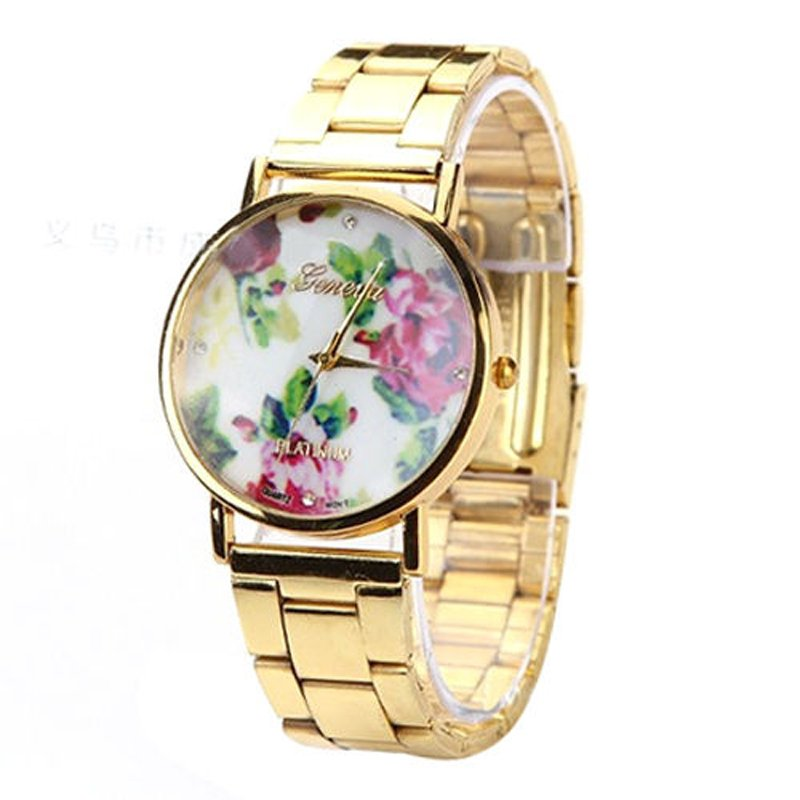 New Women's Geneva Rose Flower Stainless Steel Quartz Analog Wrist Watch