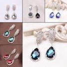 1Pair Luxury Women CZ Crystal Teardrop Statement Dangle Stud Earrings 6Colors