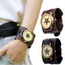 New Style Men's Retro Punk Rock Brown Big Wide Leather Bracelet Cuff Wrist Watch