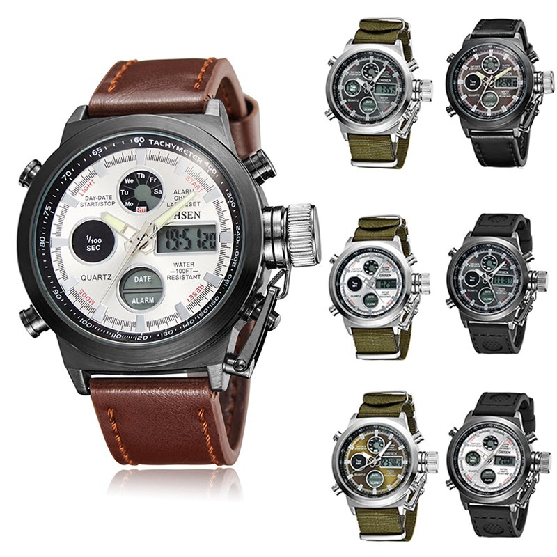 OHSEN Men's Tactical Military Army Nylon Stopwatch Sport Quartz Wrist Watch