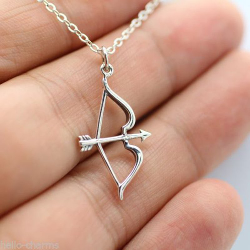 Women's Golden Bow Arrow Shaped Necklace Pendant Chain Jewelry Gift