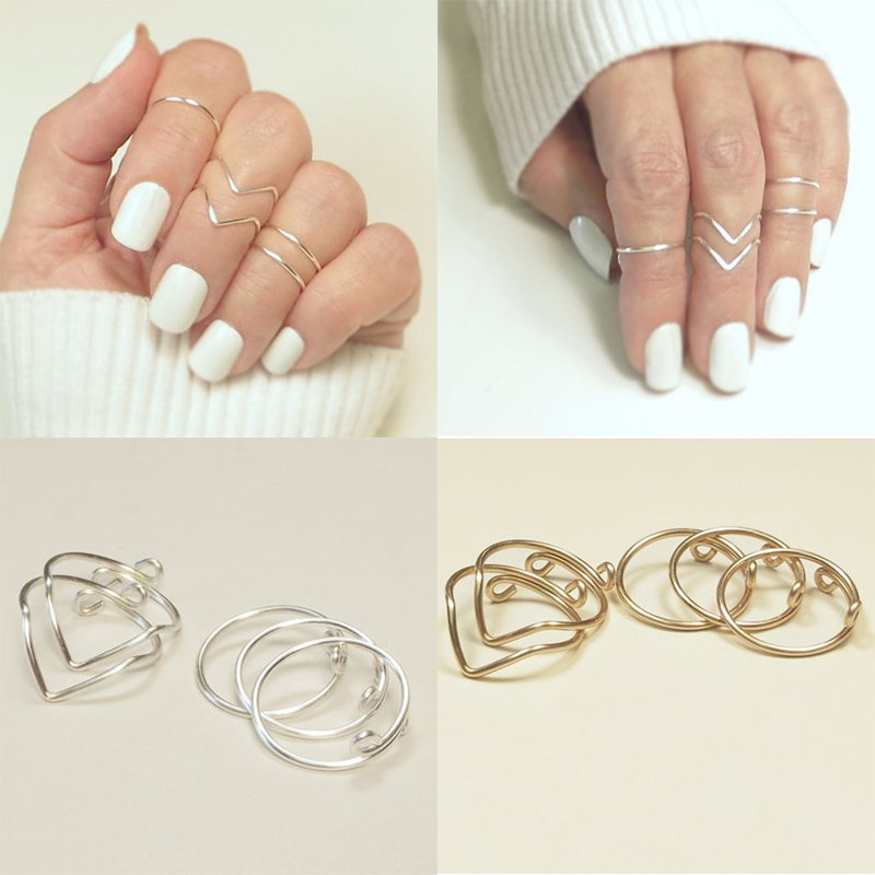 5pcs Gold Silver Plated V-Shaped Knuckle Ring Set Mid Band Jewelry For Lady Girl
