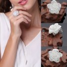 Graceful Women Fashion Flower Open End Ring 925 Silver Plated Jewelry Christmas