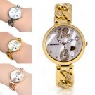 Women's Stainless Steel Crystal Heart Dial Chian Analog Quartz Wrist Watch Gold