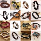 Unisex Men Women Leather Adjustable Bracelet Wristband Punk Jewelry Multi Styles